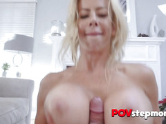 Blonde COUGAR's MASSIVE tits get fucked by her stepson