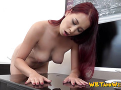 Redhead babe pisses all finished