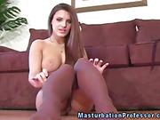 Pantyhose loving busty enjoy solo as she spoils herself
