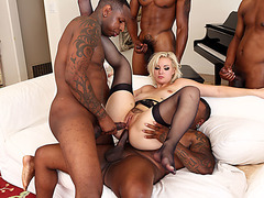 Hot blonde chick double penetrated by four black guys