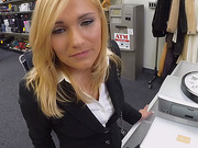 Hot blonde milf Holly fucked in pawn shop
