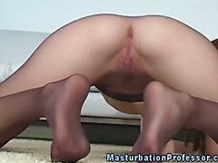 Nylons fetish femdom fingers her clit