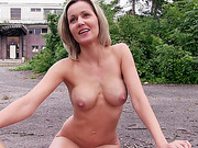 Blanka Grain flashes her tits in public and gets fucked by a stranger