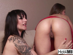 Busty brunette MILFs fuck each other on the couch!