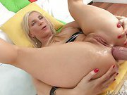 Nasty whore has her mouth stuffed and booty filled by cock!