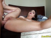 First anal fuck for tanlined amateur girlfriend with cumshot