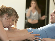 Stepmom Candy Alexa and stepdaughter Alessandra Jane gives blowjob