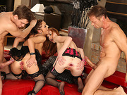 A wild foursome fuck with the slutty girls Linda and Dominica