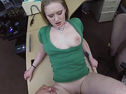 Blonde chick having a meaty cock for her pussy