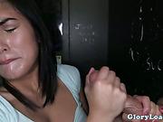 Cum loving gloryhole amateur sucks cock