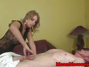 Femdom masseuse jerking her pathetic sub