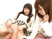 Gangbang japanese teen sucks dicks outdoors