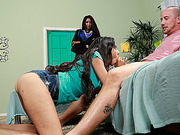 Dark stepmom censures a lousy slippery caress of a young lady to her beau