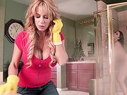 Lovers get caught fucking inside the shower room by MILF Alyssa Lynn