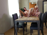 Oldnanny Old and young woman shower and masturbating pussy with dildo then