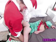 Tiny teen elf fucks santa