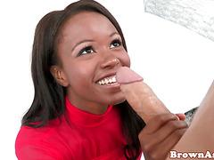 Busty blackass babe sucking white cock pov