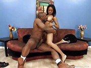 Tall Busty Ebony Babe Filled With Jizz