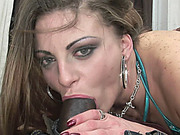 Horny hottie Nikki Nievez is fucking some big black cock