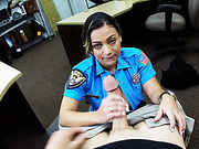 Gorgeous ass Police woman strips clothes and pose nude in the shop