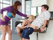 MILF Syren joins teen Goldie and her boyfriend in threesome sex