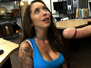 A music lover babe gets fucked in the pawnshop for a big cash