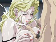 Hot blonde anime slut with killer tits gets covered in cum