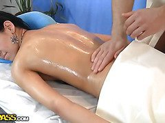 Sexy chick shoots in cute massage porn movie