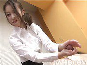 Cute and perky Nao Kojima takes care of her patient by massaging his body and riding his cock until he explodes.