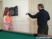 Grampa fucks teen on pool table