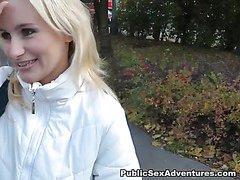 Adventurous blonde goes for outdoor sex