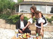 Home orgy with naughty maid