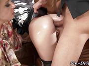 Glam slut anal cumshot