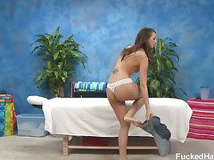 Hot 18 year old brunette Katie gets fucked hard from behind by her massage therapist.