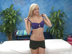 Cute 18 year old blond Britney B came into the massage studio after seeing our ad about a free massage at her school.