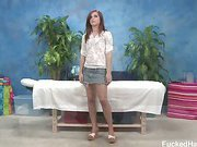 Cute 18 year old Maryjane Johnson seduced and fucked hard after her free massage!