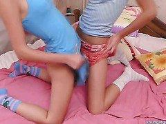 Two fun babes masturbating with dildos