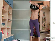 Sporty Hailey giving great blowjob in bed