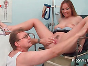 Horny babe getting cunt licked pisses in doctors mouth