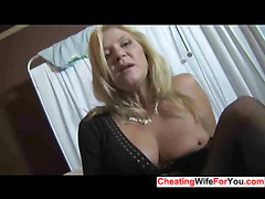 Housewife makes a guy cum on her hands