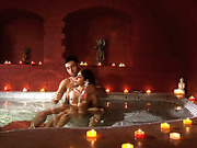 A cute couple enjoy bathing together