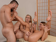 A huge firm cock shared by slutty babes Julia Ann and Kendall Kayden