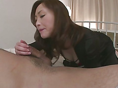 Slutty Miyama Ranko gives her guy a tongue lashing before sitting on his cock with her big tits bouncing