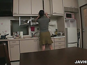 Miho Wakabayashi in the kitchen on her knees gobbling dick