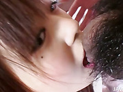 Cute teen Noriko Kagos furry pussy filled with a monster load of hot cum juice