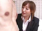 Aika Hoshino sucks and fucks a hard dick until he explodes hot jizz in her face