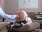 Busty blonde gets fucked in bdsm