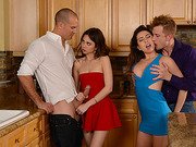 Horny sluts Melissa and Riley enjoys a foursome after dinner fuck