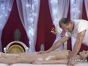 Hairy pussy babe fucks masseur till jizz