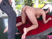 Big titted brunette babe Anissa Kate gets her pussy stuffed